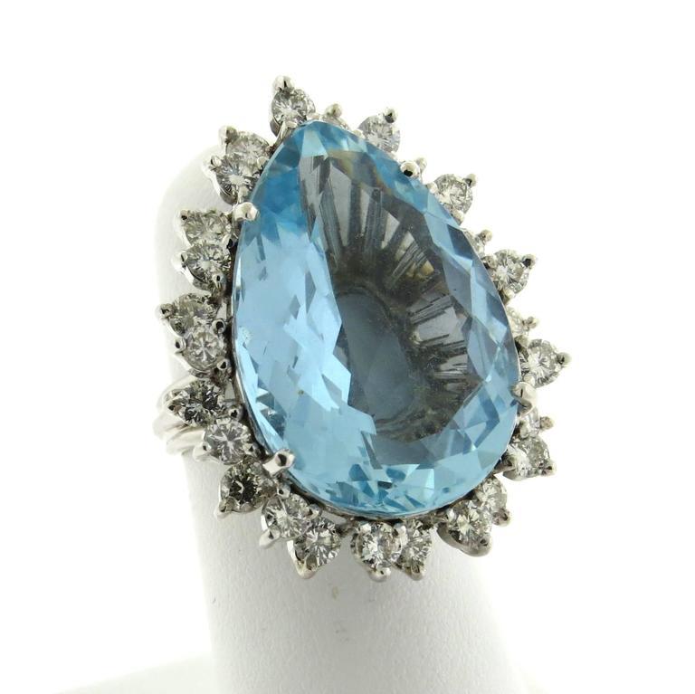 classic aquamarine platinum ring at 1stdibs
