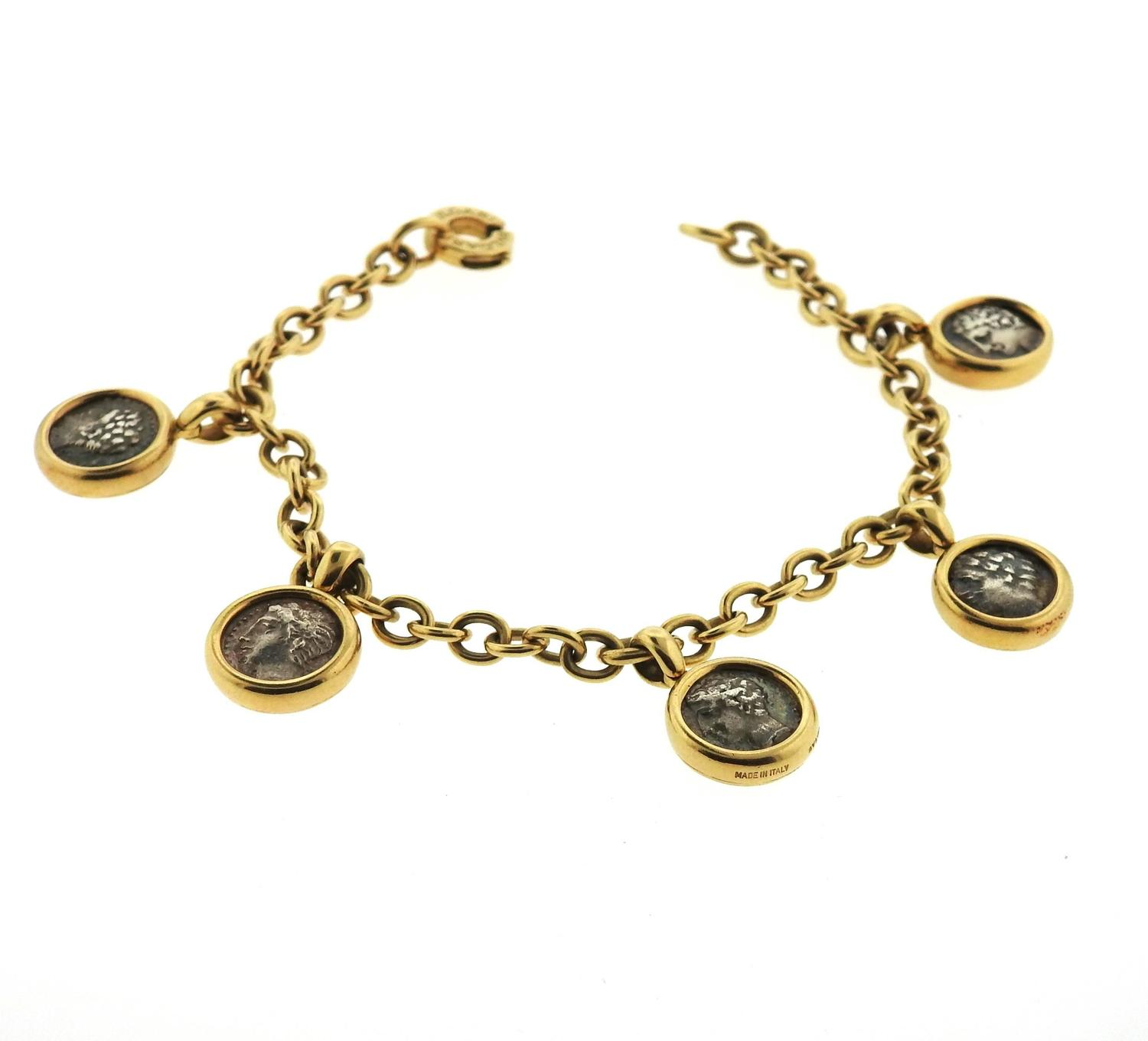 Gold Charm Bracelet Charms: Bulgari Gold Ancient Coin Charm Bracelet At 1stdibs