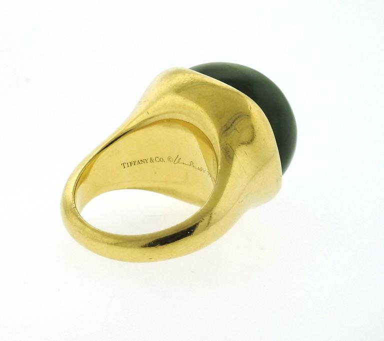 Women's Tiffany & Co. Elsa Peretti Jade Gold Cabochon Ring  For Sale
