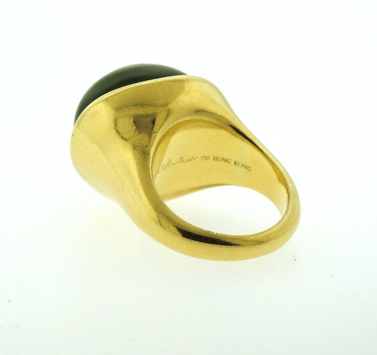 Tiffany & Co. Elsa Peretti Jade Gold Cabochon Ring  For Sale 1