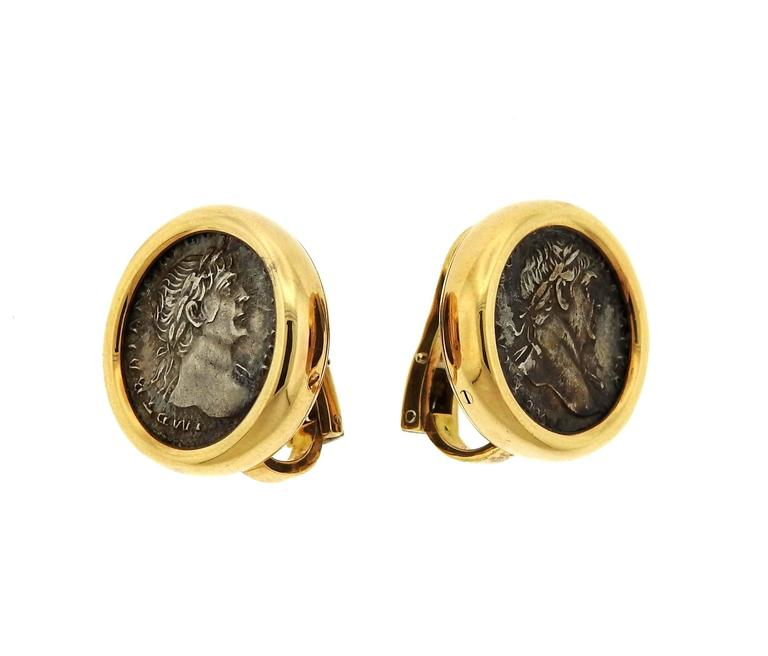 bulgari monete ancient coin gold earrings 2