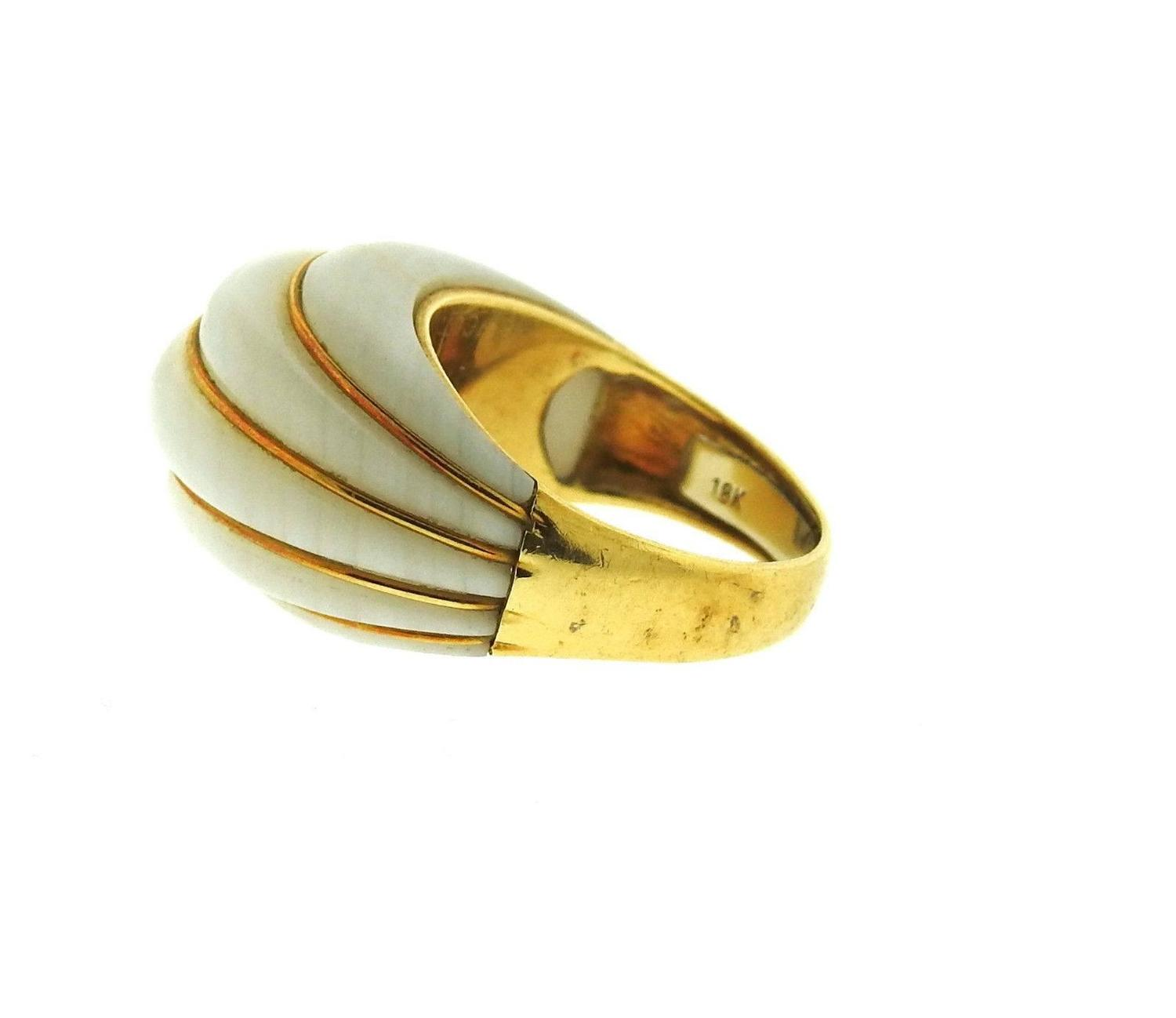 1970s white agate gold dome ring for sale at 1stdibs