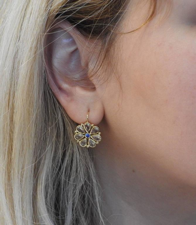 Temple St Clair Rose Cut White Blue Shire Gold Flower Earrings In New Condition For