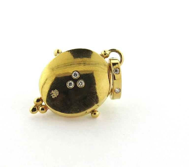 34 Grams Unique Diamond Set: Temple St. Clair Gold Diamond Peridot Locket Pendant At