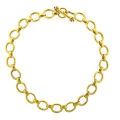 Elizabeth Locke Ruby Gold Link Toggle Necklace