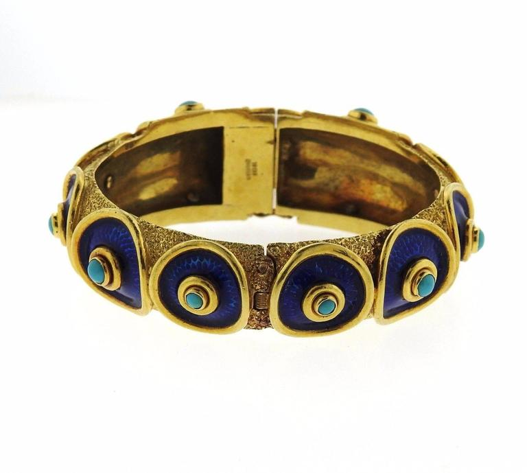 Cellino Blue Enamel Turquoise Gold Bangle Bracelet In Excellent Condition For Sale In Lahaska, PA