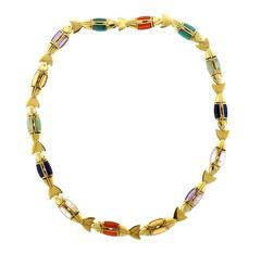 Cleto Munari Gold Gemstone Diamond Fish Necklace