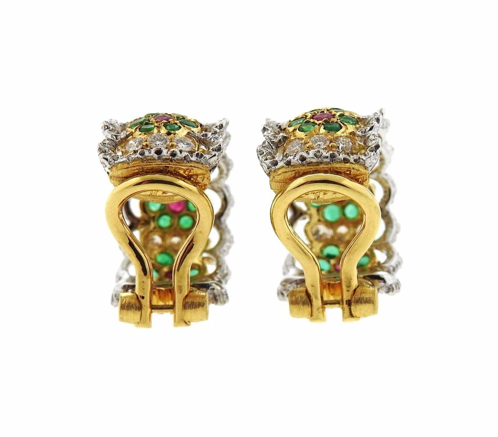 Buccellati Emerald Ruby Diamond Gold Hoop Earrings For Sale at 1stdibs