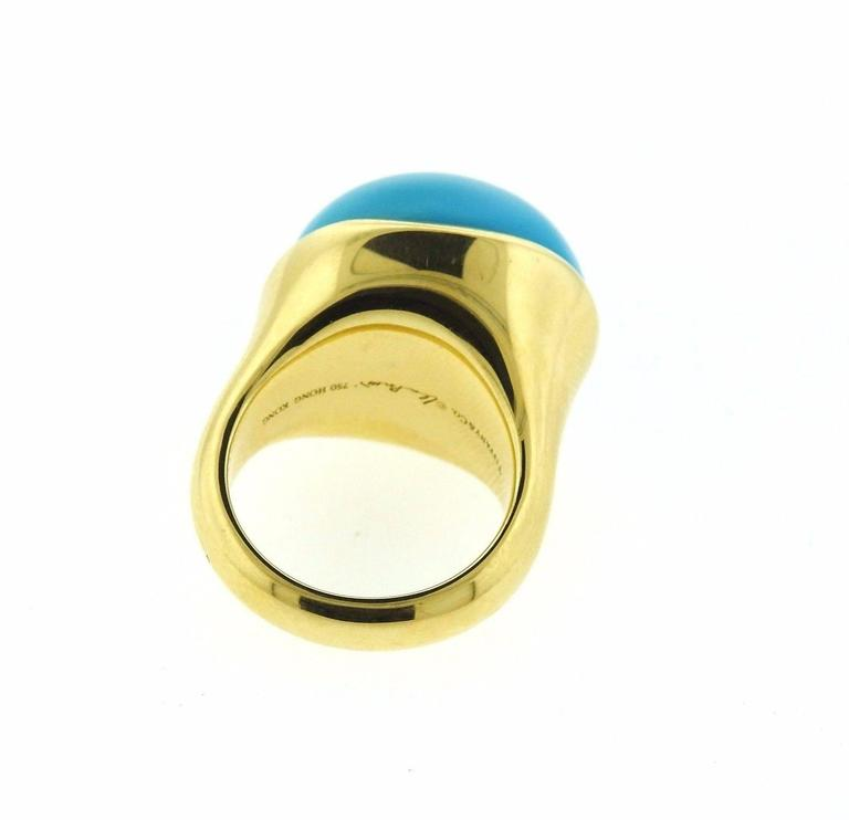 af5782a9a Tiffany & Co. Elsa Peretti Turquoise Cabochon Gold Ring In Excellent  Condition For Sale In