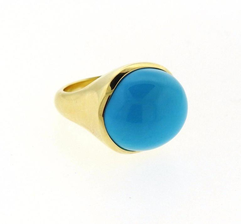 00cb87c3b Tiffany and Co. Elsa Peretti Turquoise Cabochon Gold Ring at 1stdibs