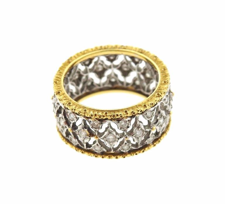 Buccellati Diamond Two Color Gold Open Work Wedding Band