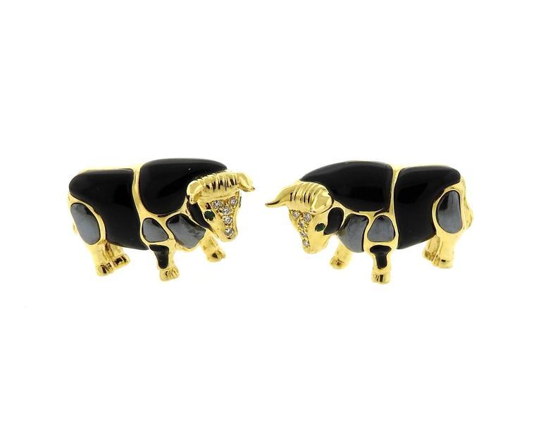 Asch Grossbardt Gold Onyx Hematite Emerald Diamond Bull Cufflinks Stud Set 5