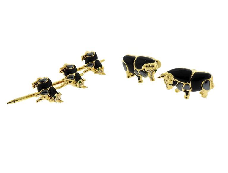 Asch Grossbardt Gold Onyx Hematite Emerald Diamond Bull Cufflinks Stud Set 6