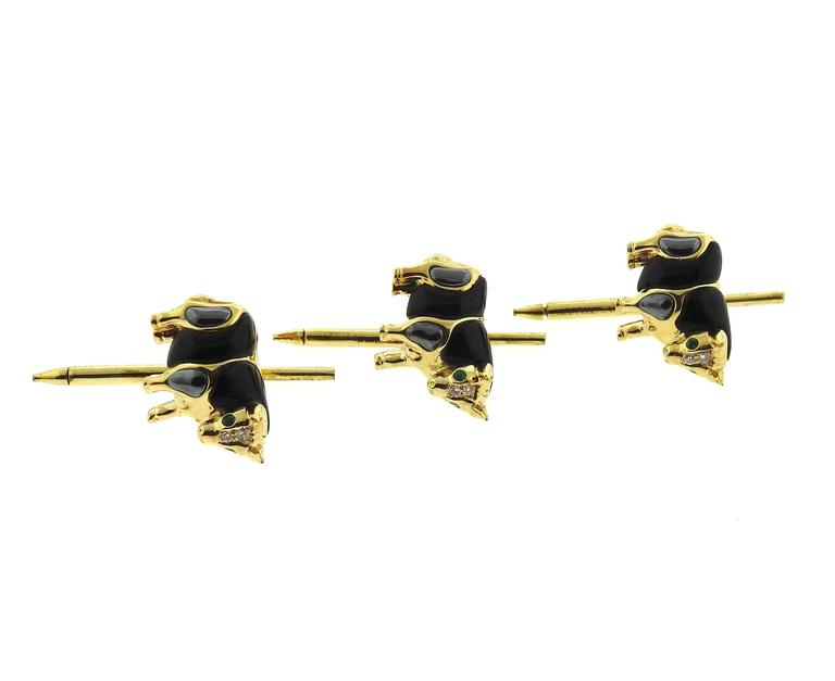 Asch Grossbardt Gold Onyx Hematite Emerald Diamond Bull Cufflinks Stud Set 7