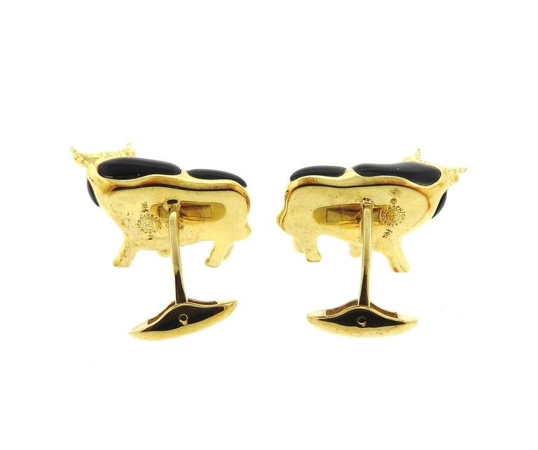 Asch Grossbardt Gold Onyx Hematite Emerald Diamond Bull Cufflinks Stud Set 8