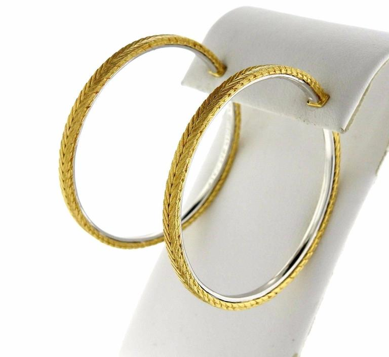 Buccellati Gold Braided Large Hoop Earrings In New Condition For Sale In Lahaska, PA