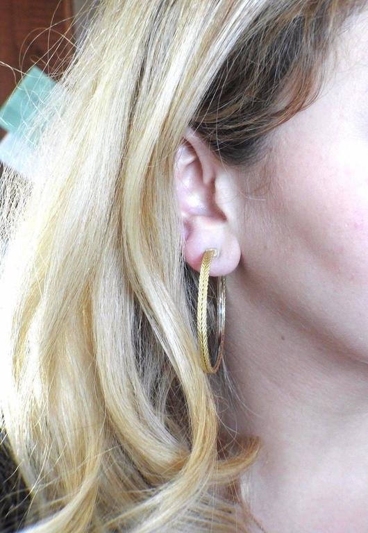 Buccellati Gold Braided Large Hoop Earrings For Sale 1