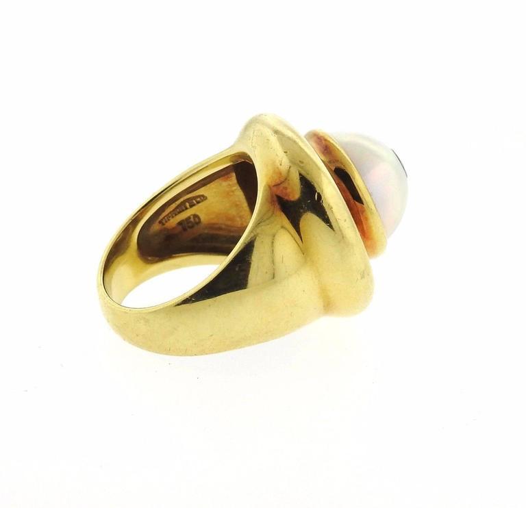 Tiffany & Co Paloma Picasso Gold Pearl Diamond Ring 3