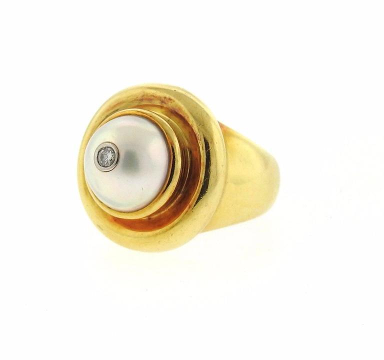 Tiffany & Co Paloma Picasso Gold Pearl Diamond Ring 2