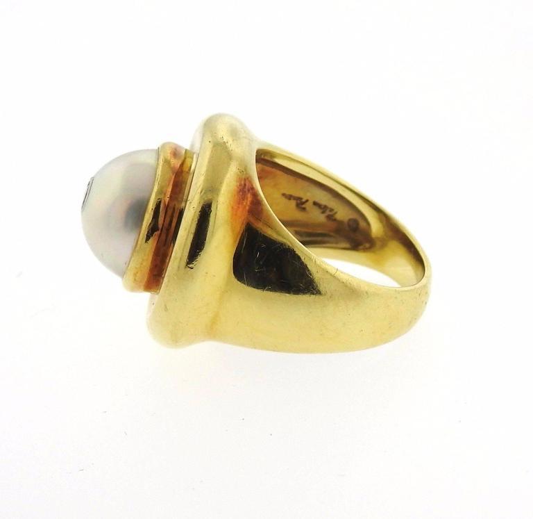Tiffany & Co Paloma Picasso Gold Pearl Diamond Ring 4
