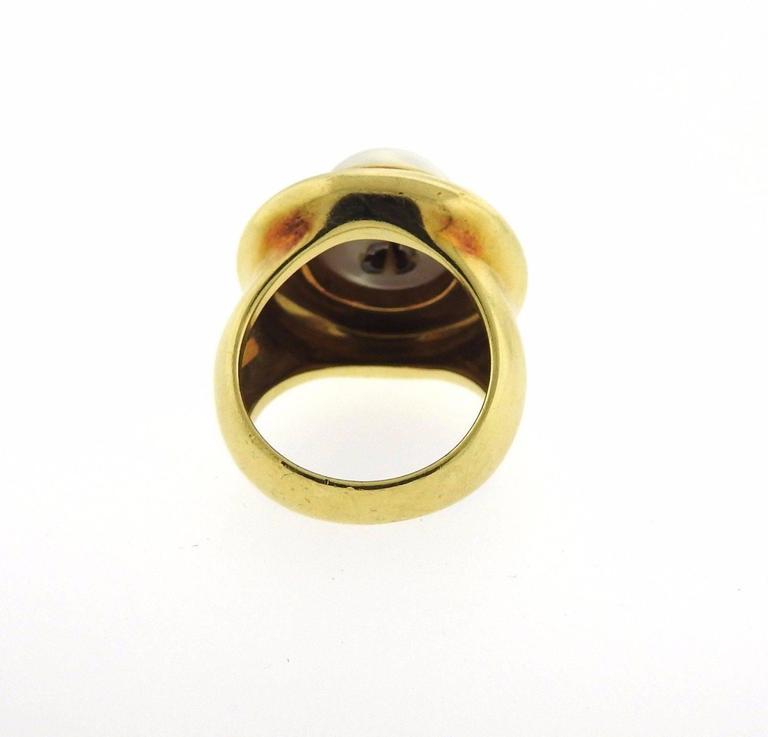 Tiffany & Co Paloma Picasso Gold Pearl Diamond Ring 5