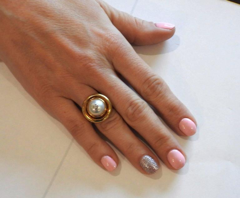 Tiffany & Co Paloma Picasso Gold Pearl Diamond Ring 6