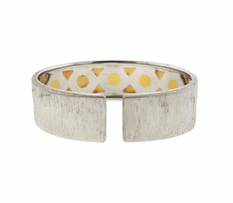 Buccellati 18k gold and sterling silver cuff bracelet, crafted by Buccellati. Bracelet will fit up to 6 1/2
