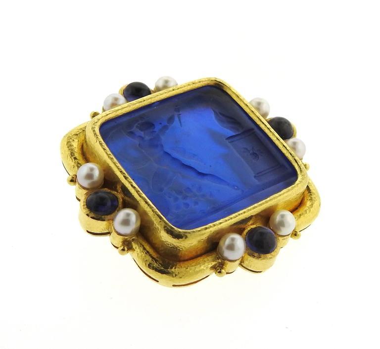 Elizabeth Locke Gold Pearl Sapphire Venetian Glass Intaglio Pendant Brooch In Excellent Condition For Sale In Lahaska, PA