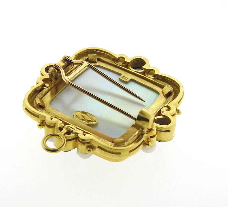 Women's Elizabeth Locke Gold Pearl Sapphire Venetian Glass Intaglio Pendant Brooch For Sale