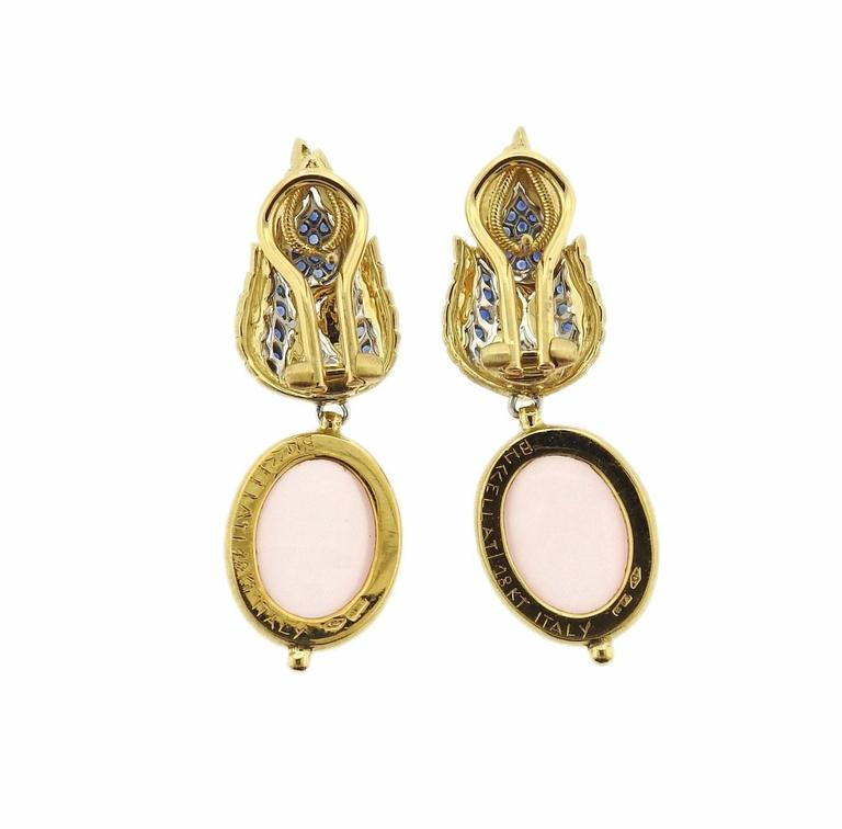 Buccellati Rose Quartz Sapphire Drop Two Color Gold Earrings In Excellent Condition For Sale In Lahaska, PA