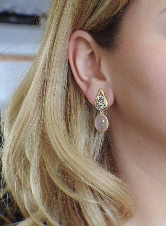 Women's Buccellati Rose Quartz Sapphire Drop Two Color Gold Earrings For Sale
