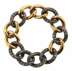 Pomellato Tango Rose Gold 8.72 Carat Diamond Chain Link Bracelet