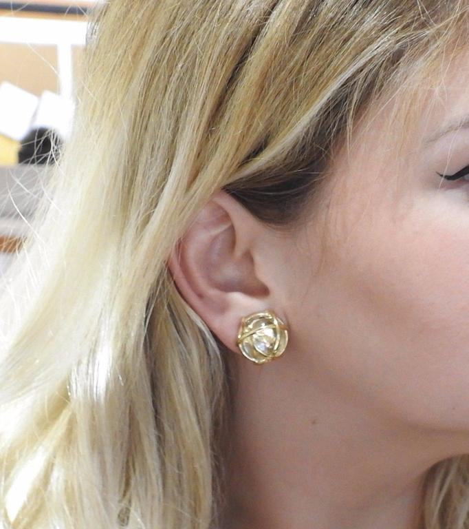 Verdura Caged Crystal Gold Earrings In Excellent Condition For Lahaska Pa