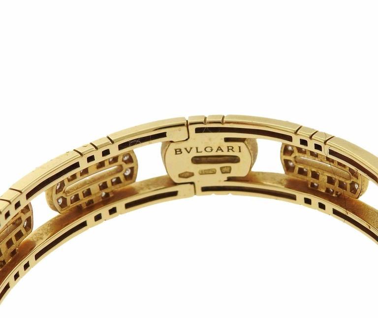 Bulgari Parentesi Demi Pave Diamond Gold Bangle Bracelet In Excellent Condition For Sale In Lahaska, PA