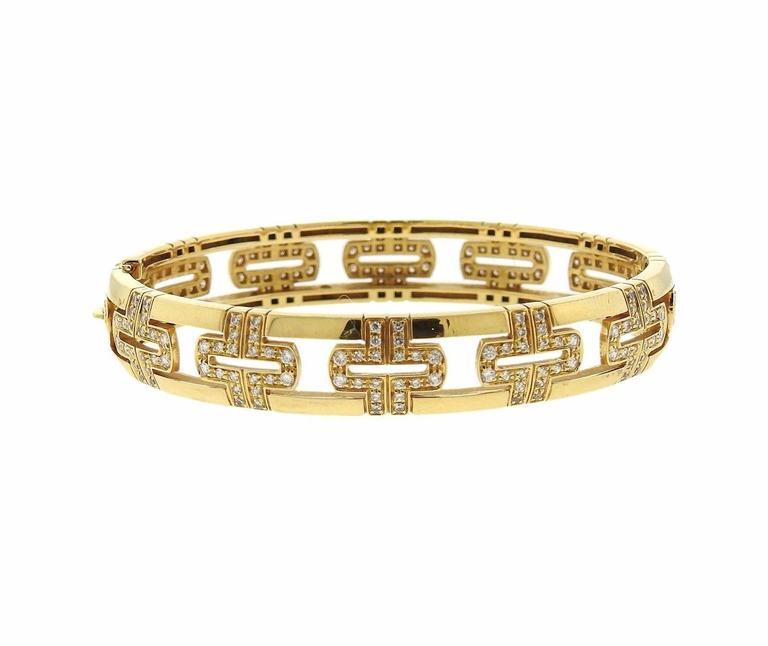 Women's Bulgari Parentesi Demi Pave Diamond Gold Bangle Bracelet For Sale