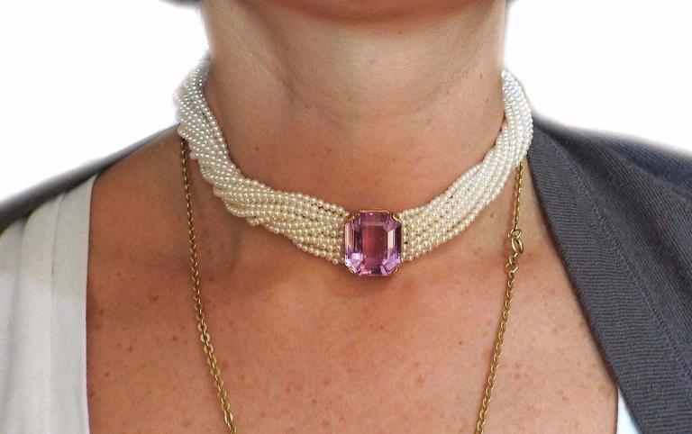 Women's Tiffany & Co Angela Cummings Kunzite Pearl Gold Torsade Necklace For Sale