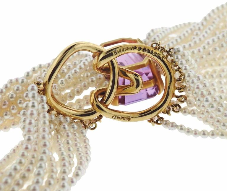Tiffany & Co Angela Cummings Kunzite Pearl Gold Torsade Necklace In Excellent Condition For Sale In Lahaska, PA