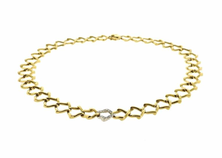 Tiffany & Co. Paloma Picasso Diamond Gold Platinum Chain Link Necklace 2