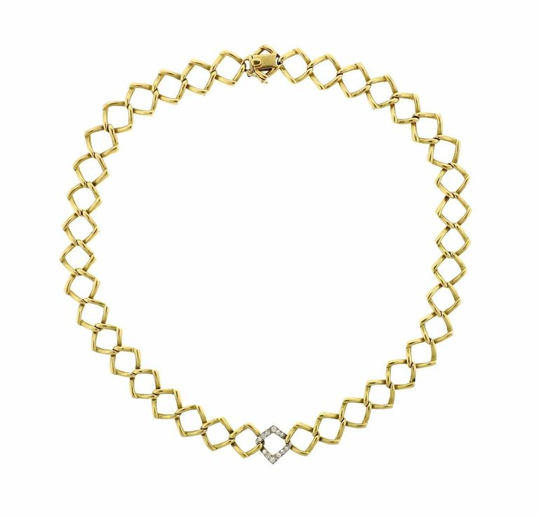 Tiffany & Co. Paloma Picasso Diamond Gold Platinum Chain Link Necklace 1