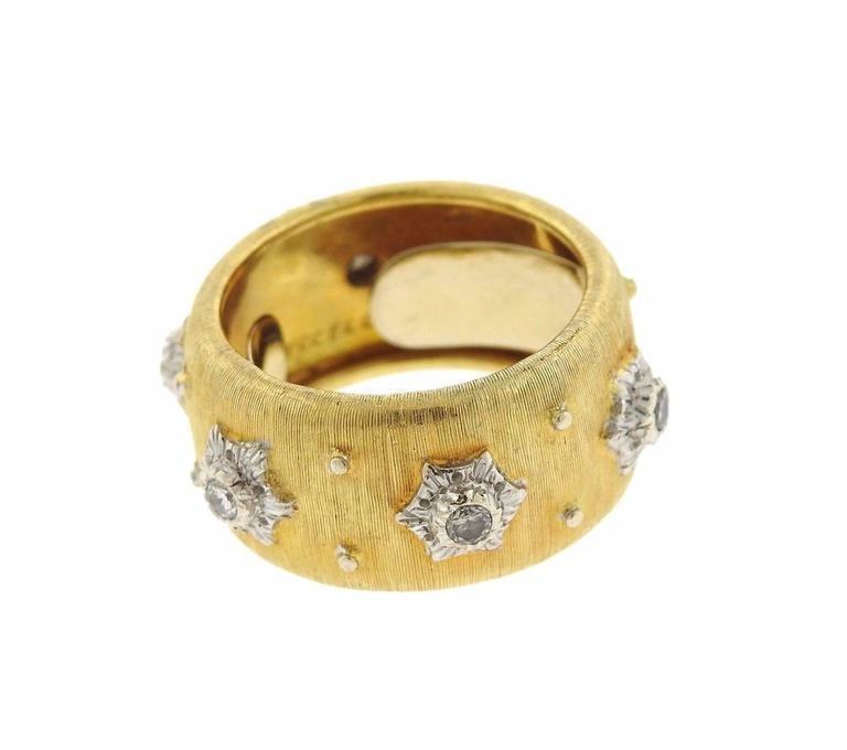 Buccellati Diamond Gold Wide Wedding Band Ring For Sale At