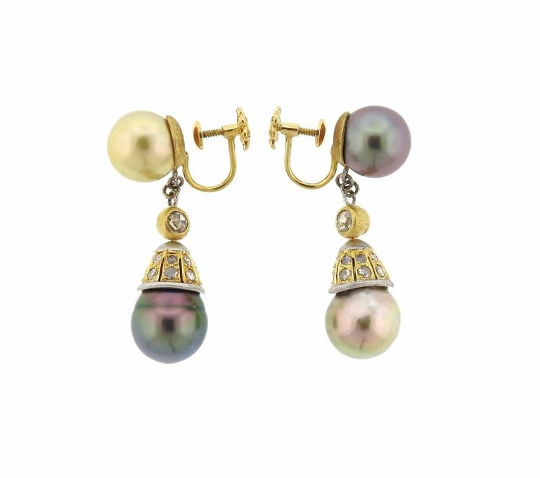 Buccellati Gold Diamond Pearl Drop Earrings In Excellent Condition For Sale In Boca Raton, FL