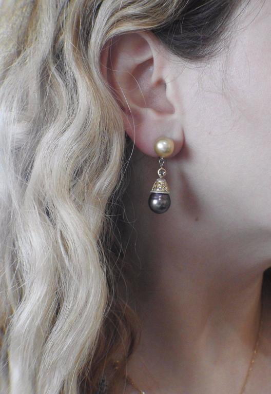 Buccellati Gold Diamond Pearl Drop Earrings For Sale 1