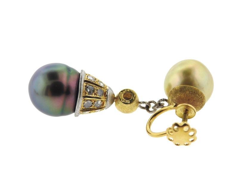 Women's Buccellati Gold Diamond Pearl Drop Earrings For Sale