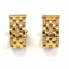 Cartier Panthere Maillon Five Row Diamond Earrings