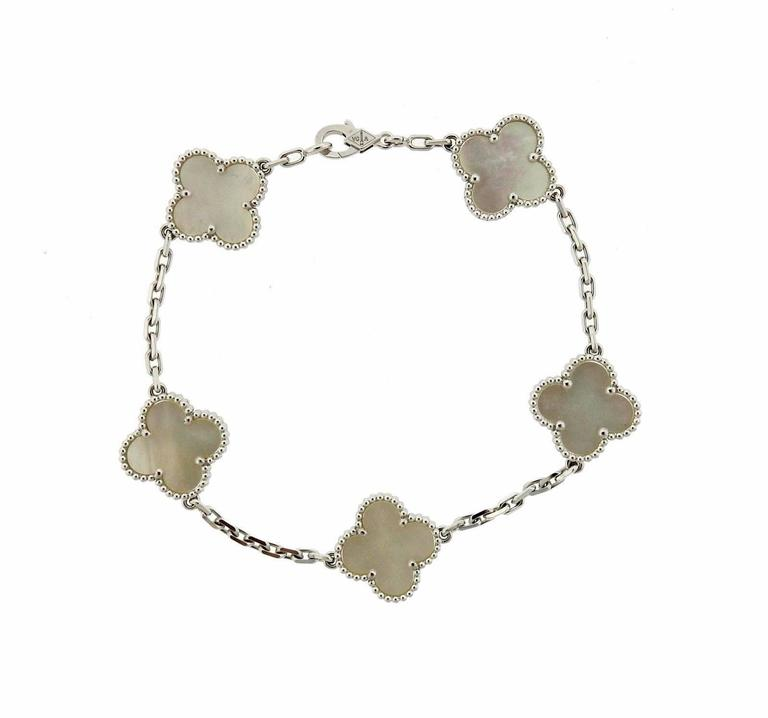 Van Cleef & Arpels Vintage Alhambra Mother of Pearl Gold 5 Motif Bracelet 2