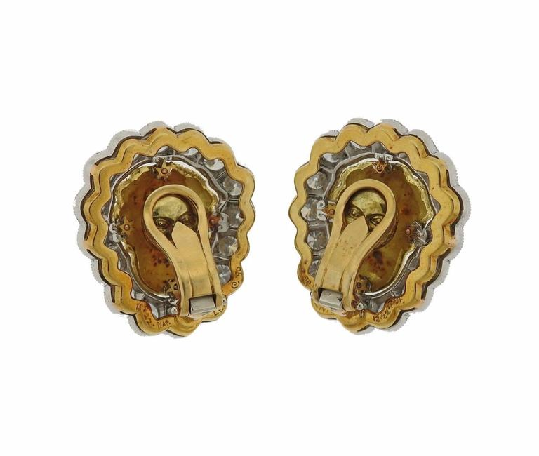 1990s Anthony Lent Putti Gold Diamond Platinum Cherub Earrings In Excellent Condition For Sale In Lahaska, PA