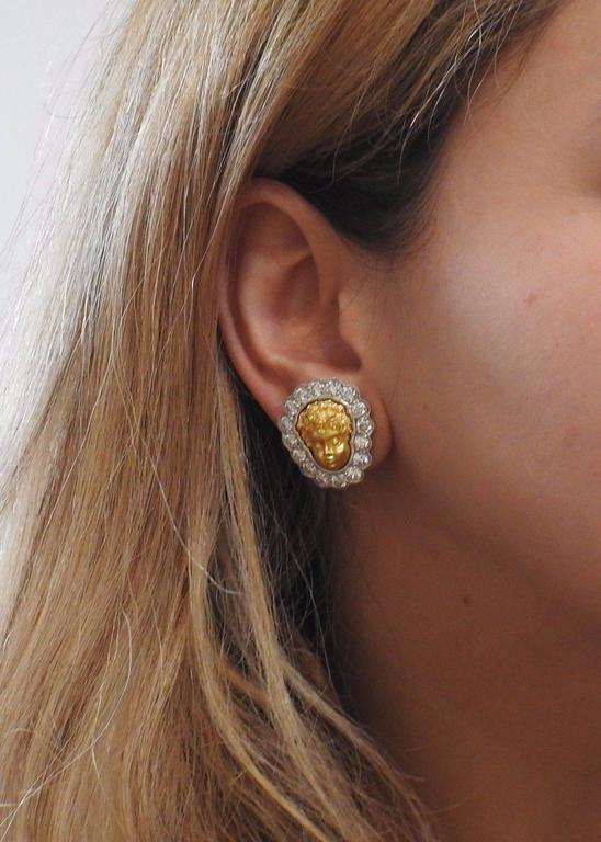 1990s Anthony Lent Putti Gold Diamond Platinum Cherub Earrings 5