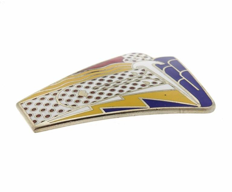1960s Roy Lichtenstein Metal Enamel Modern Head Large Brooch Pin In Excellent Condition For Sale In Lahaska, PA