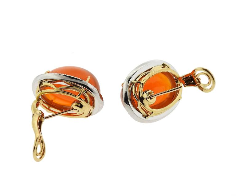 Mexican Fire Opal Cabochon Diamond Gold Earrings 3