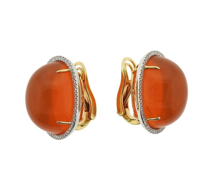 Mexican Fire Opal Cabochon Diamond Gold Earrings 2